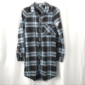 Joie Plaid Button Up Shirt Dress Long Sleeve Blue